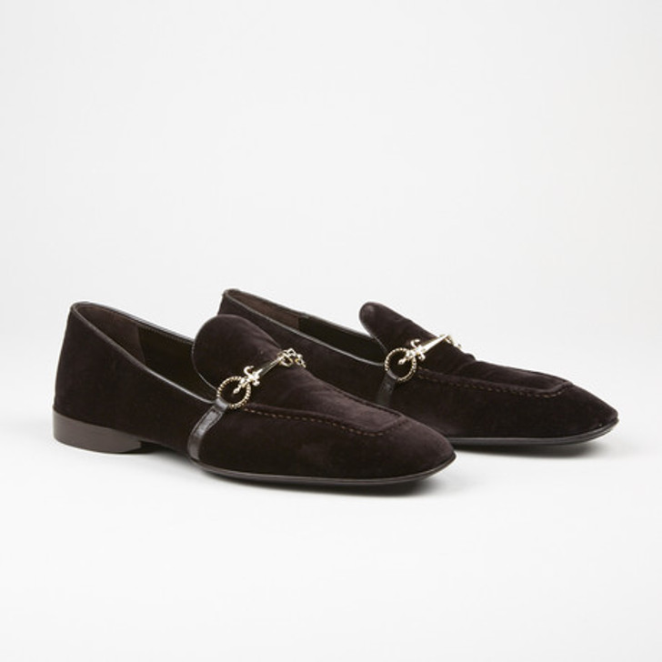 Cesare Paciotti 48361 Chocolate Brown Velvet Loafer With Dager Buckle