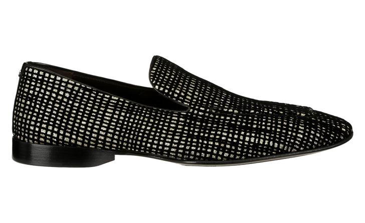 Cesare Paciotti 48360 Black Velvet & Gold Loafer