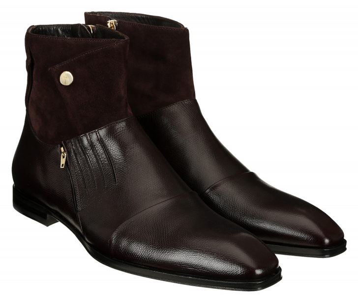 Cesare Paciotti 48203 Suede & Leather Zipper Boot, Bordo