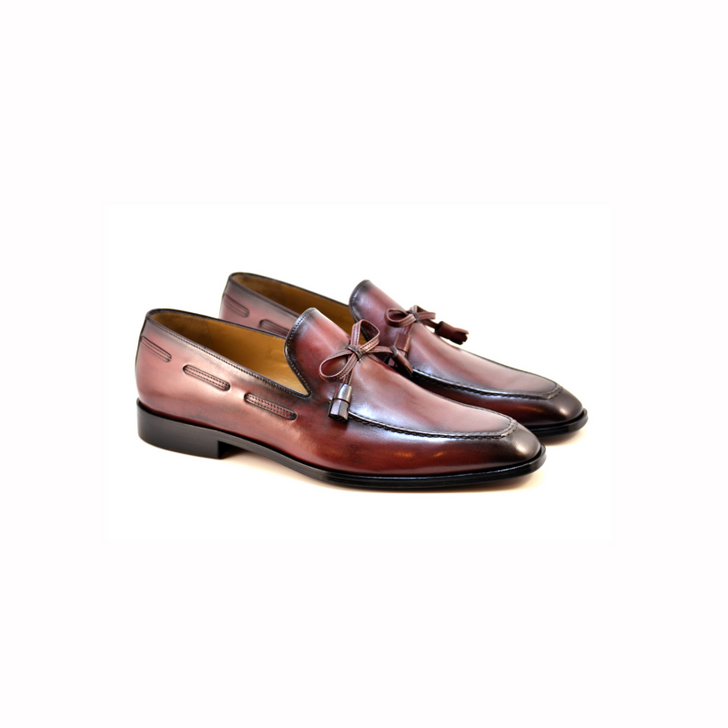 Corrente 4520 Loafer with Bow- Burgundy
