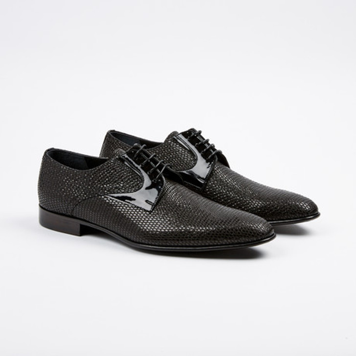 Corrente 3378 Formal lizard print lace up- Black