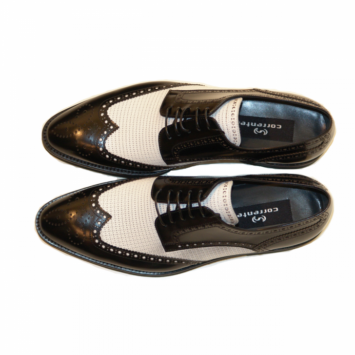 Corrente 2401 Perforated spectator wingtip- Black&white