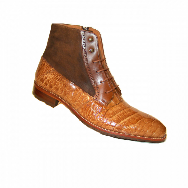 Pelle Line exclusive Mezlan, Molino Alligator and suede Laceup Boot Camel