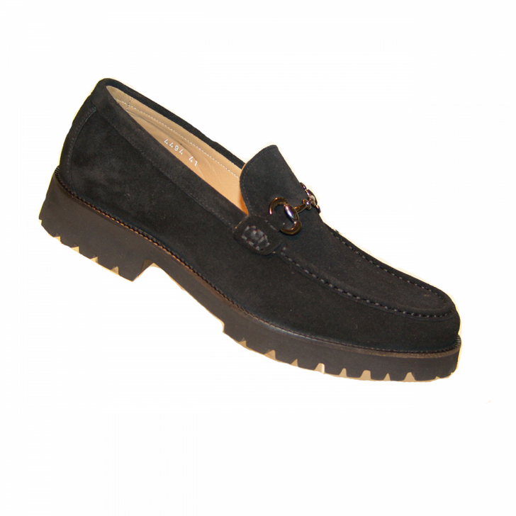 Corrente 4494 Buckle loafer with Lug Sole- Black Suede