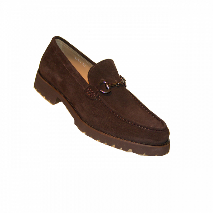 Corrente 4494 Buckle loafer with Lug Sole- Brown Suede