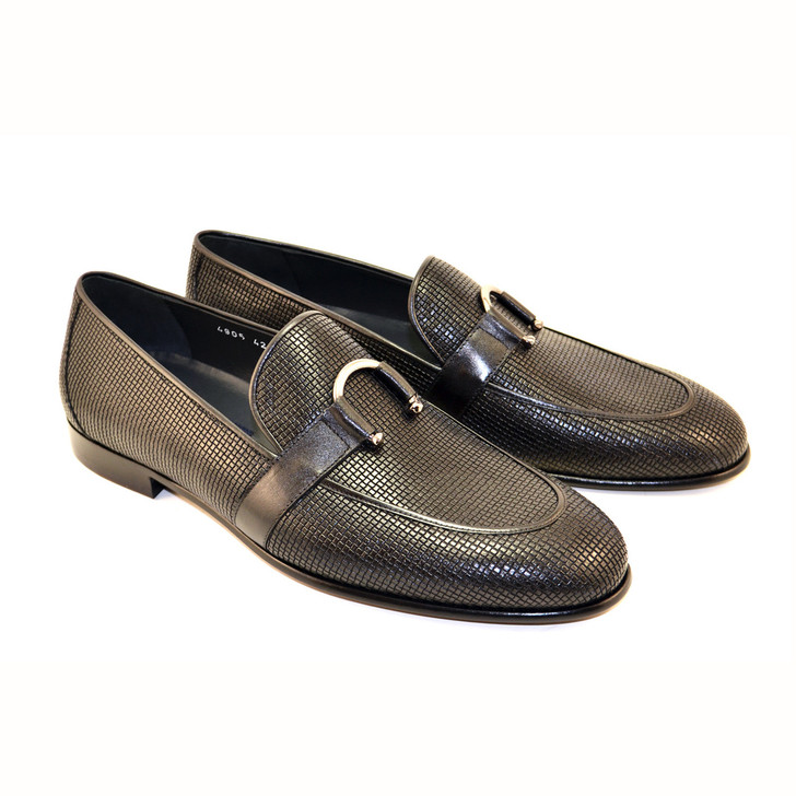 Corrente 4905 Woven Loafer with horseshoe buckle- Navy