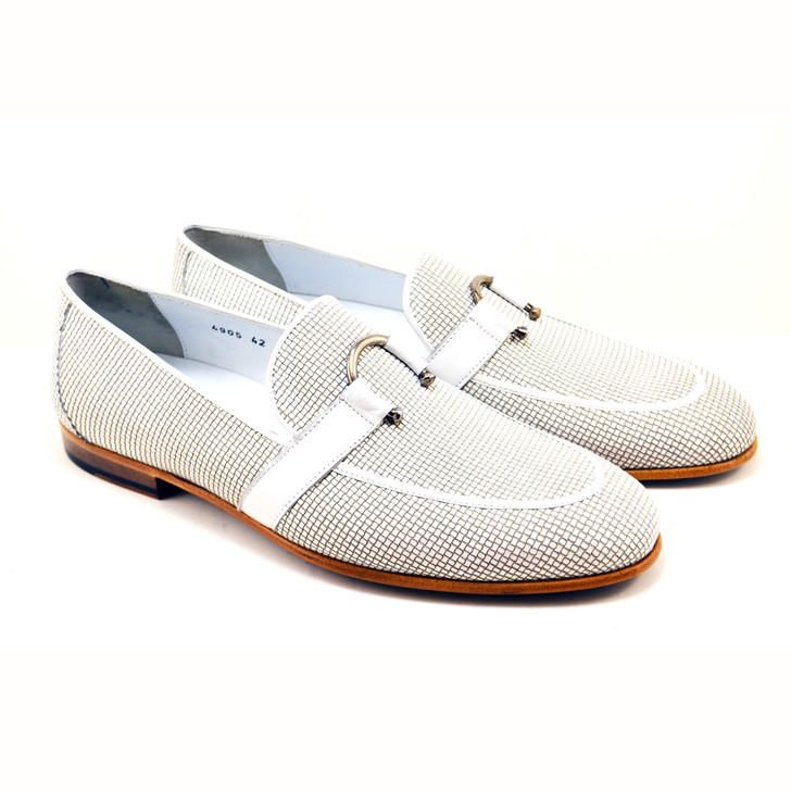 Corrente 4905 Woven Loafer with horseshoe buckle- White FINAL SALE