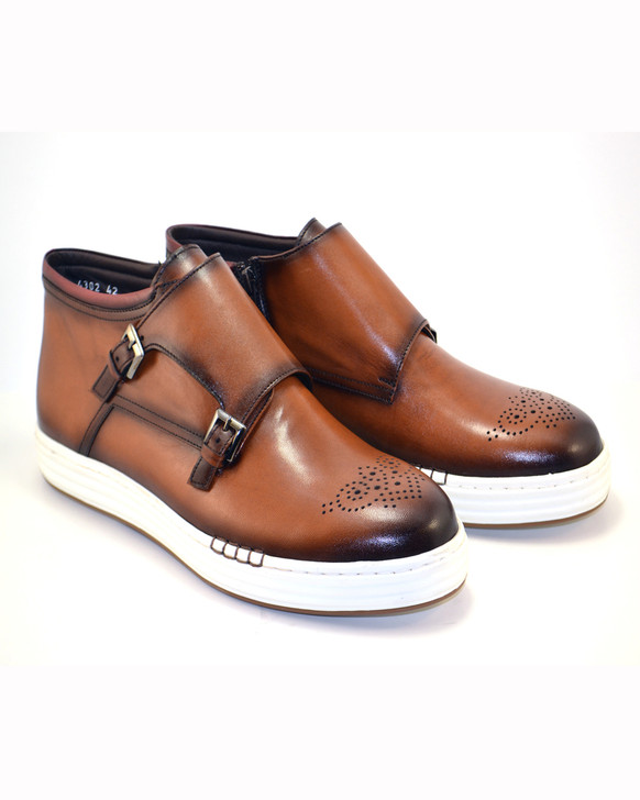 Corrente 4302 High top double buckle- Brown
