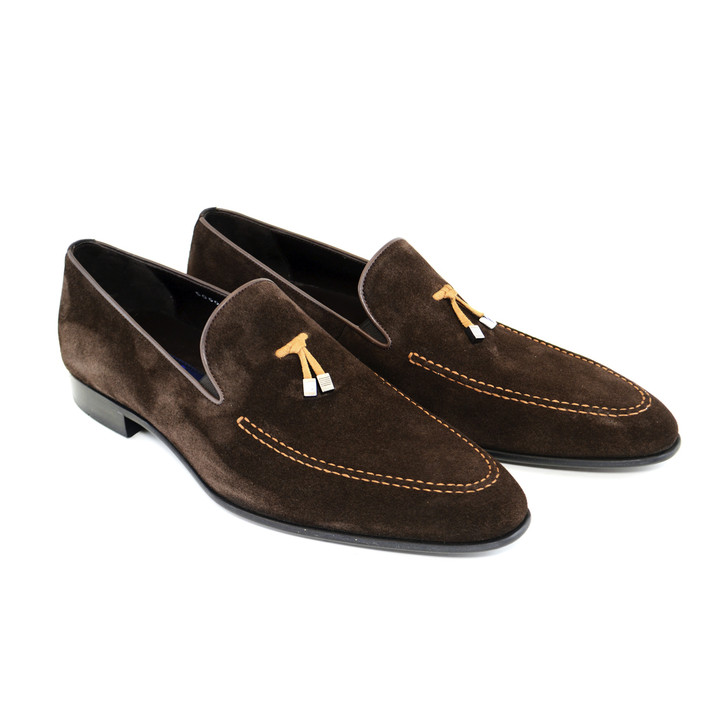 Corrente 5060 Suede Loafer with contrast strap- Brown