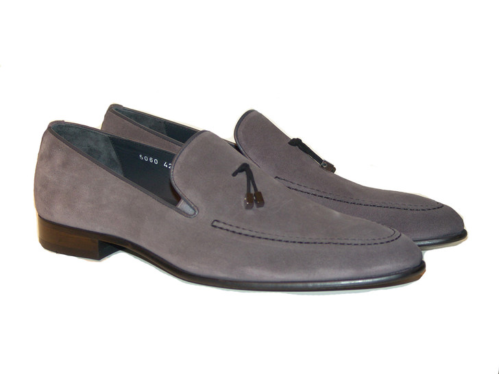 Corrente 5060 Suede Loafer with contrast strap- Grey
