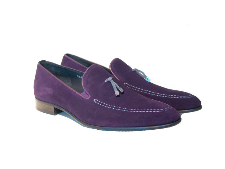 Corrente 5060 Suede Loafer with contrast strap- Purple/Grey