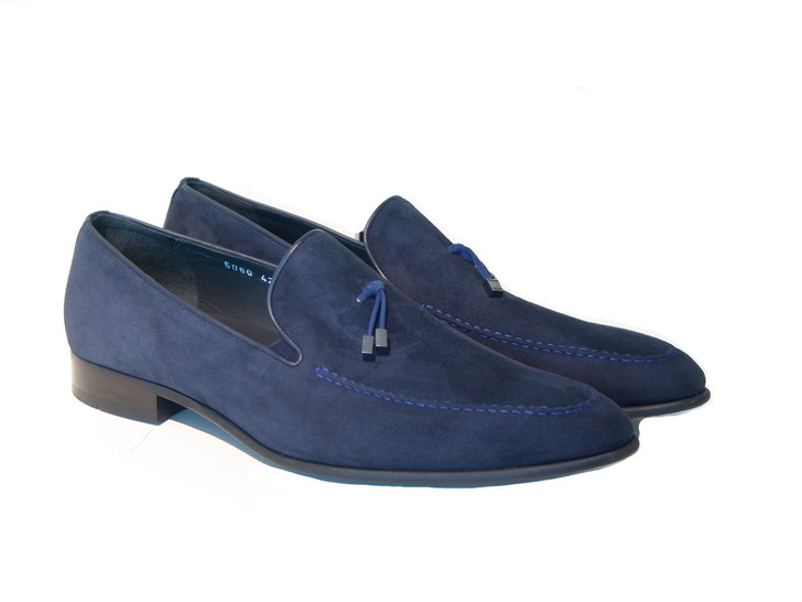 Corrente 5060 Suede Loafer with contrast strap- Navy