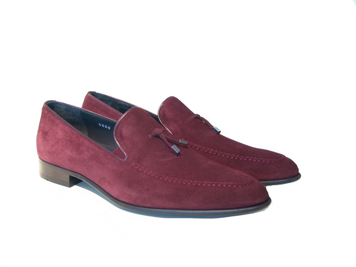 Corrente 5060 Suede Loafer with contrast strap- Burgundy