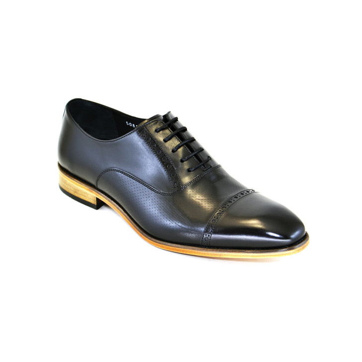 Corrente 5081- Cap toe lace up with natural sole Black