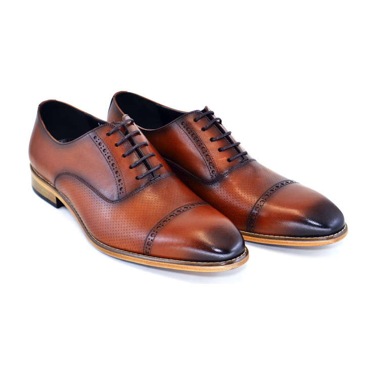 Corrente 5081- Cap toe lace up with natural sole Tabacco