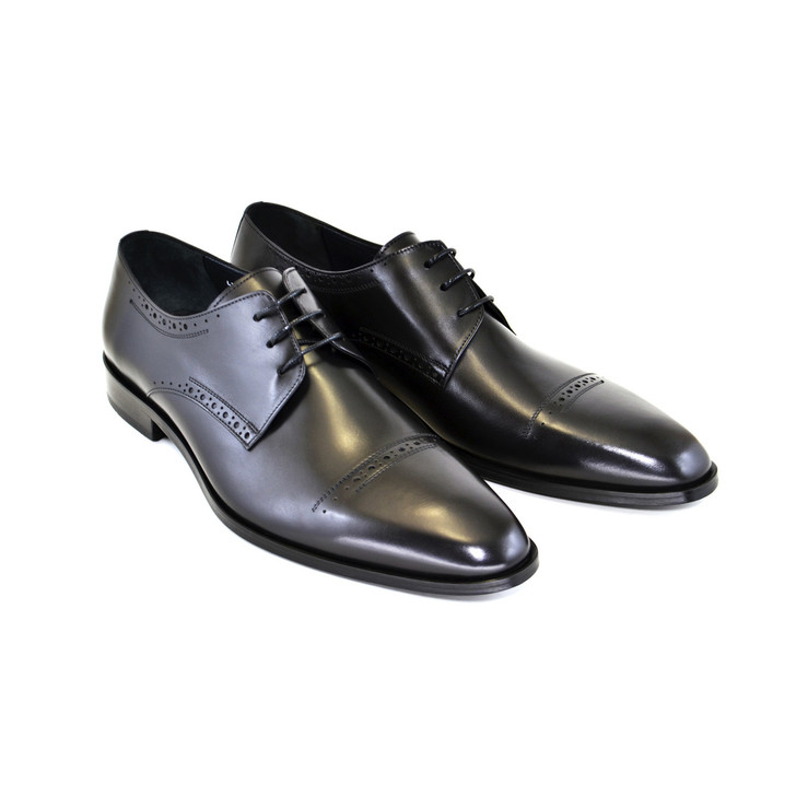 Corrente 4766- Cap toe lace up Black