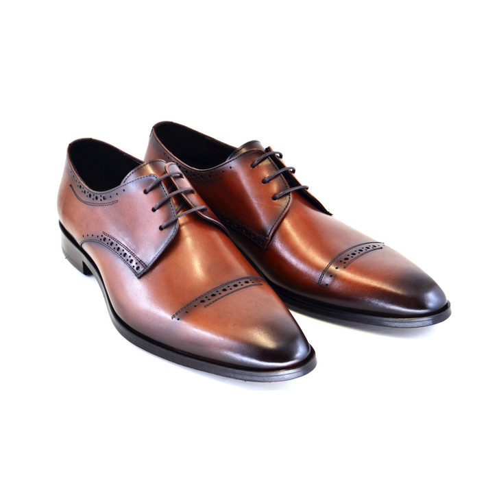 Corrente 4766- Cap toe lace up Tabacco