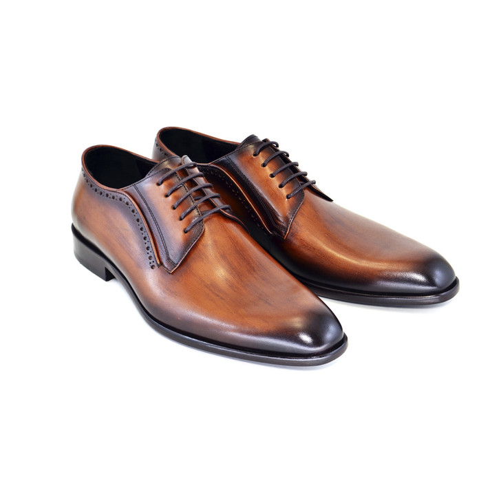 Corrente 4937 Plain toe lace up -Tabacco