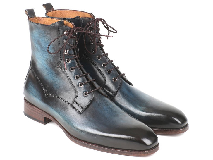 Paul Parkman Men's Blue & Brown Leather Boots (ID#BT548AW)