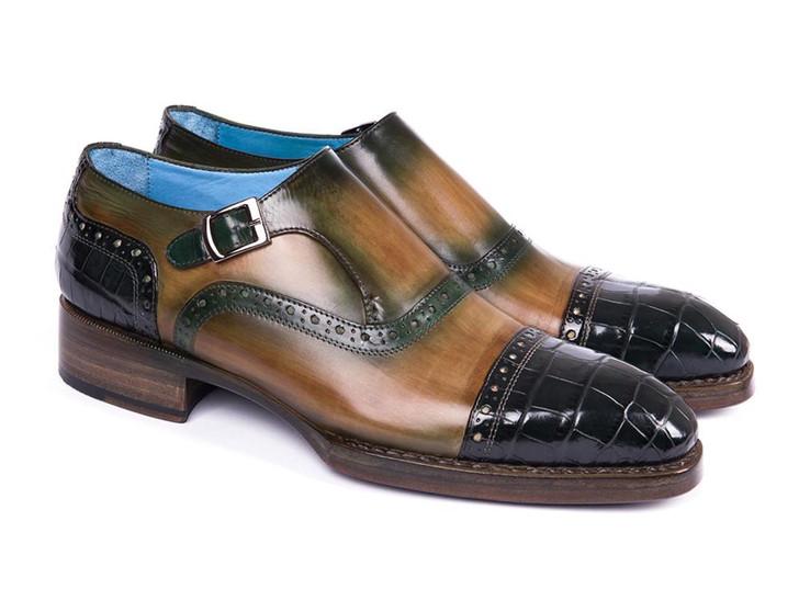 Paul Parkman Green Genuine Crocodile & Calfskin Captoe Monkstrap Shoes (ID#899-GRN)