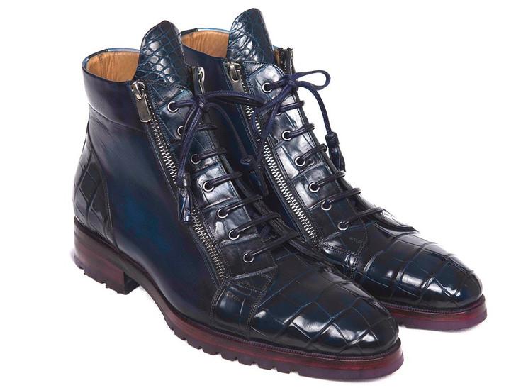 Paul Parkman Blue Genuine Crocodile & Calfskin Side Zipper Boots (ID#82CBL41)