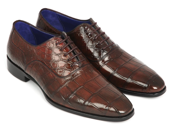 Paul Parkman Brown Genuine Crocodile Oxfords (ID#21BRW84)