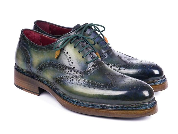 Paul Parkman Triple Leather Sole Wingtip Brogues Green & Blue (ID#0225TRP-GRN)