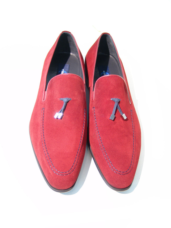Corrente 5060 Suede Loafer with contrast strap- Red