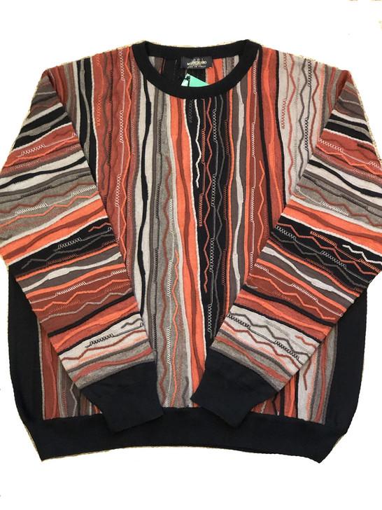 Pelle Line 940 Sweater , Crew Neck - Multi orange- FINAL SALE