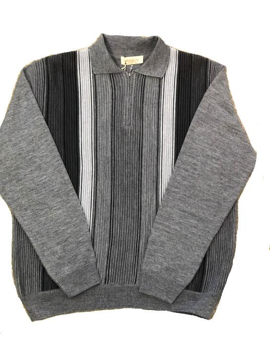 Pelle Line 504 Sweater Zipper Neck  -Grey- FINAL SALE