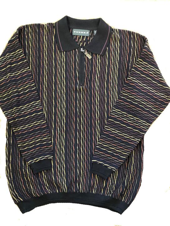 Pelle Line 6T222 Sweater , Zipper Neck  - Black Multi- FINAL SALE
