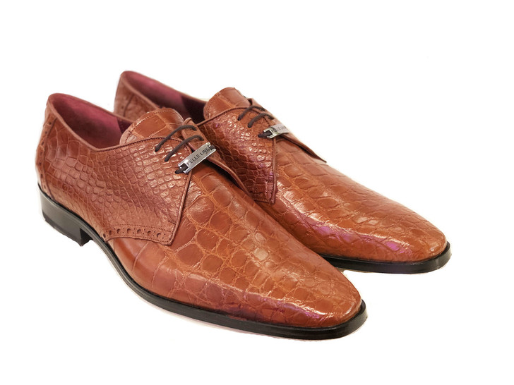 Pelle Line Exclusive Bravo- Alligator Lace up Cognac