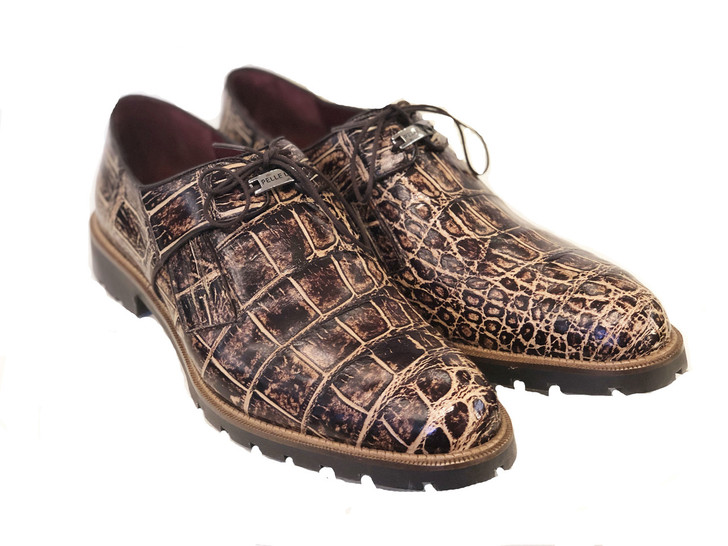 Pelle Line Exclusive Cosi- Burnished alligator Lace up -Beige -Brown