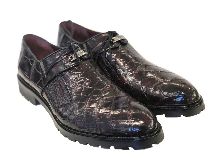 Pelle Line Exclusive Cosi- Burnished alligator Lace up -Black cherry