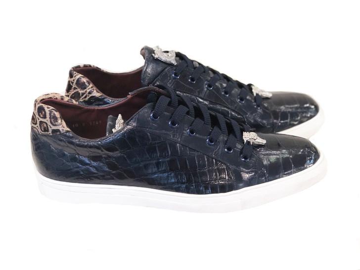 Pelle Line Exclusive Lucio- Full alligator Sneaker Navy