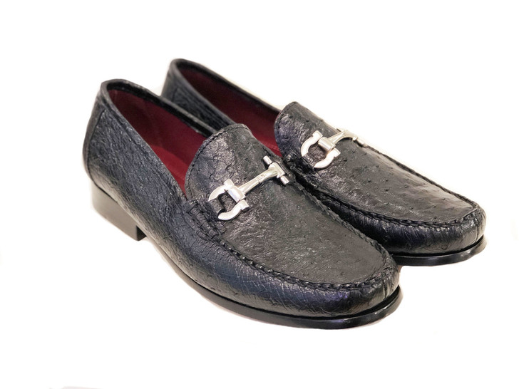 Pelle Line Exclusive Struzzo -Ostrich bit loafer Black