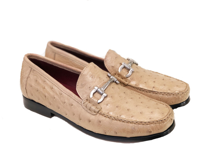 Pelle Line Exclusive Struzzo -Ostrich bit loafer Onix