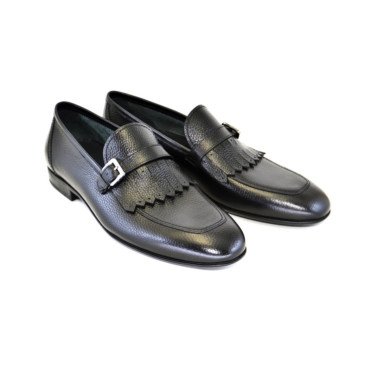 Corrente 4728  Kilttie buckle loafer- Black