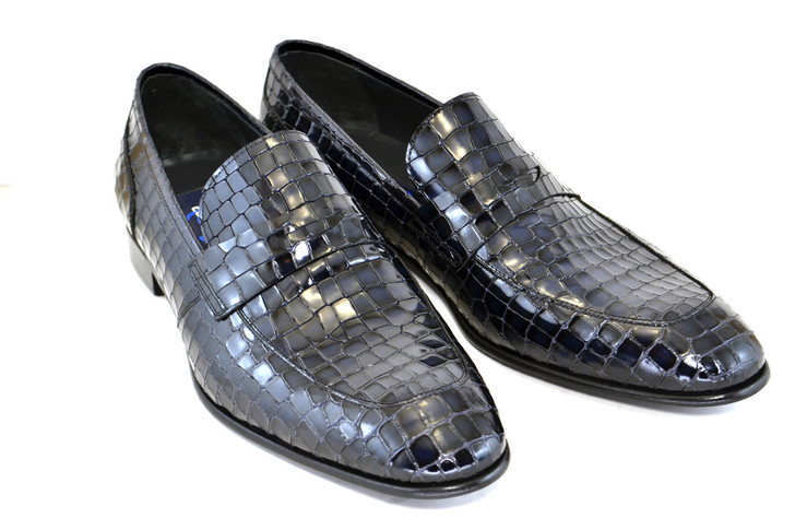Corrente 3470 Croc print loafer- Dark Navy