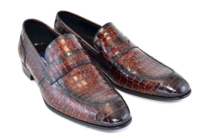 Corrente 3470 Croc print loafer- Cognac