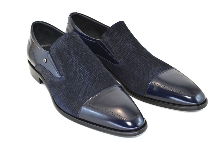 Corrente 3519 Cap Toe Loafer Navy suede/ Leather
