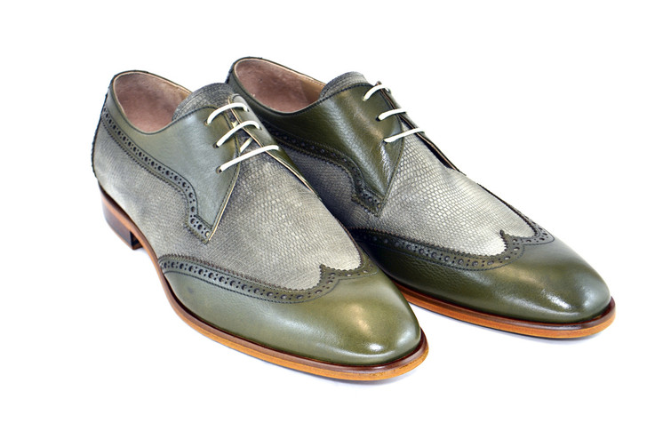 Corrente 3750- Wingtip with pattern suede vamp-Olive