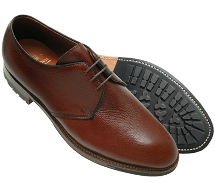 Alden 942C 3 Eyelet Plain Toe Blucher- Brown Alpine Grain