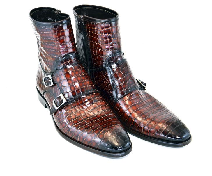 Corrente 4604 Croc print zipper boot with side buckle- Cognac