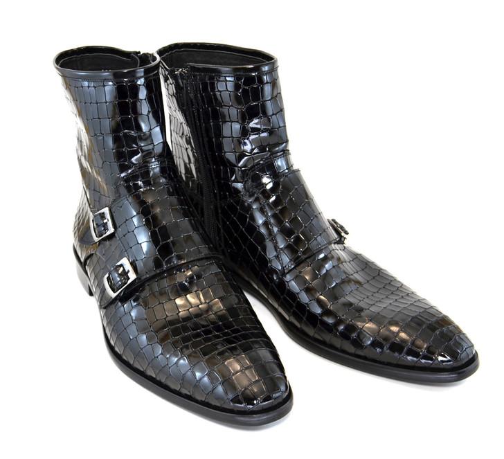 Corrente 4604 Croc print zipper boot with side buckle- Black