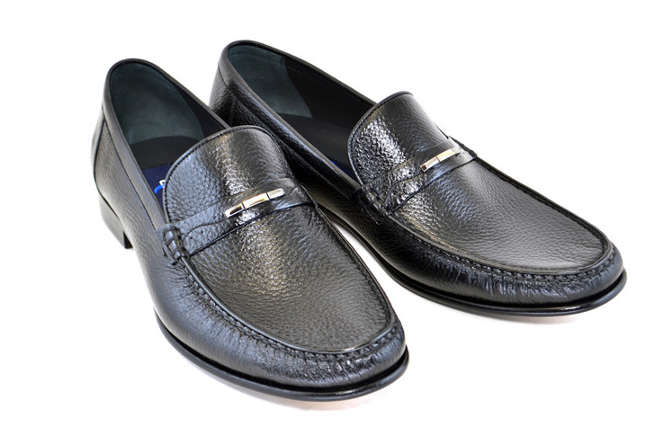 Corrente 3898 Deer Skin Handsewn  loafer- Black