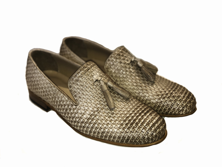 Pelle Line Exclusive Grown Tassel Woven Loafer- Beige