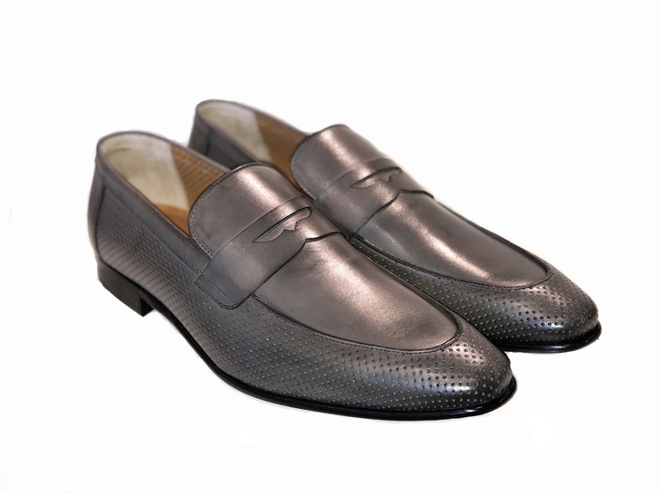 Pelle Line Exclusive 6026 perforated penny Loafer- Grey