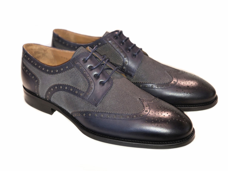 Pelle Line Exclusive 7126- Spectator wing tip- Navy Grey