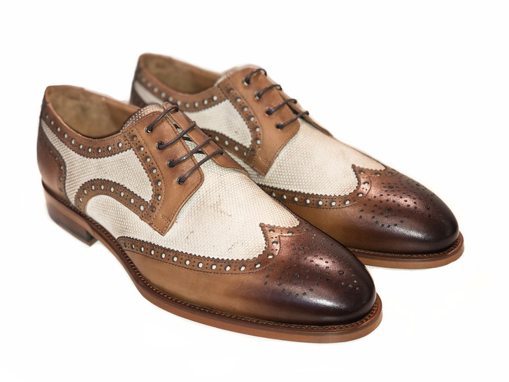 Pelle Line Exclusive 7126- Spectator wing tip- Tabacco, Beige